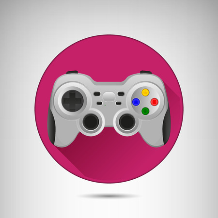 move controller: Wireless grey gamepad icon with long shadow. Vector flat illustration.