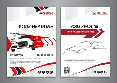 A5, A4 set service car business card templates. Car repair business catalogue cover layout design. Vector illustration.