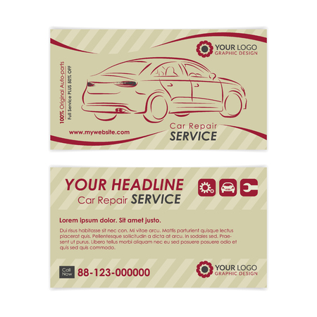 Vintage auto repair business card template create your own business vector vintage auto repair business card template create your own business cards mockup vector illustration reheart Image collections