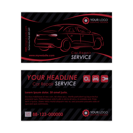 Auto repair business card template create your own business auto repair business card template create your own business cards mockup vector illustration colourmoves Gallery