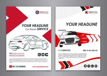 A5, A4 service car business layout templates. Auto repair Brochure templates, automobile magazine cover, abstract arrow Modern Backgrounds. Vector illustration.