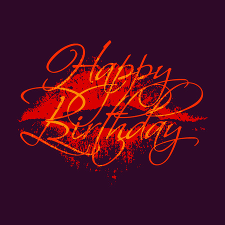 Happy birthday inscription with lipstick kiss. Greeting card template with calligraphy. Vector Illustration. Illustration