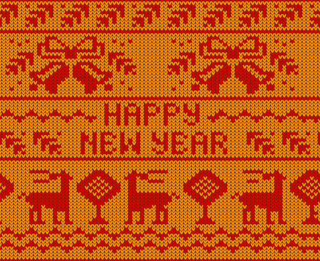 scandynavian: Yellow Happy New Year Jumper seamless knitted Pattern with deers. Vector illustration. Illustration