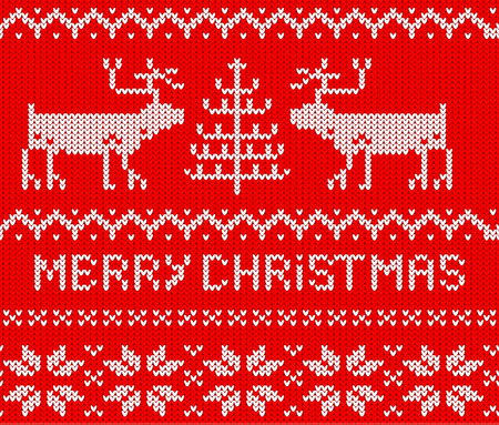 Red Christmas Jumper seamless knitted Pattern with deers. Vector illustration. Illustration