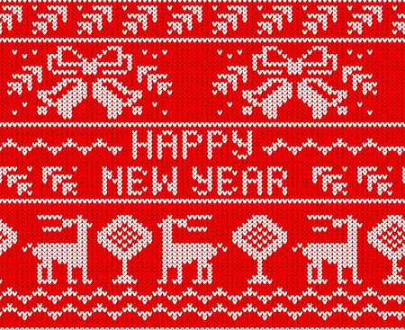 scandynavian: Red Happy New Year Jumper seamless knitted Pattern with deers. Vector illustration.
