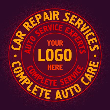 Colored Auto Repair Services Badge template. Car service label, emblem vector illustration.
