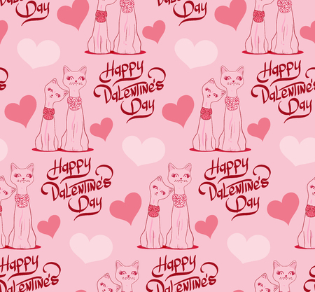 cat s: Valentine?s Day Seamless pattern with cartoon cats and hearts. Vector illustration.