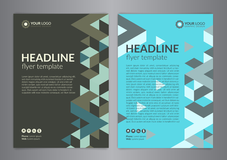 flyer layout: Business brochure flyer design layout template, size A4, with triangle pattern. Modern Backgrounds. Vector illustration.