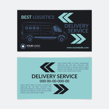calling card: 2 Sided Business Card Delivery service. Delivery van, logistics industry calling card. Vector illustration.