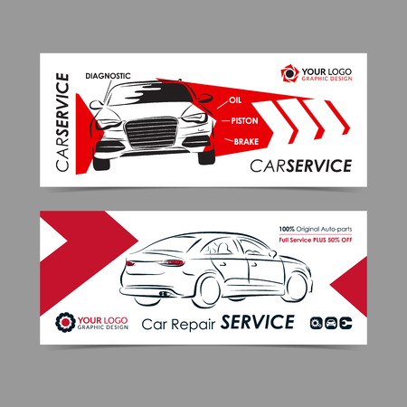 Set Of Auto Repair Service Banner Poster Flyer Car Service