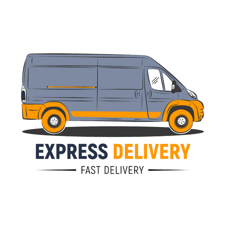 EXPRESS Delivery service logo template. Delivery company logo. Fast car. Vector illustration.