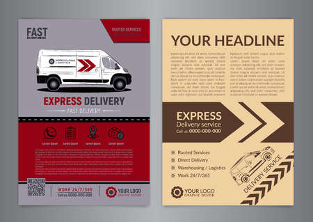Set of Express delivery service brochure flyer design layout template. Fast delivery.