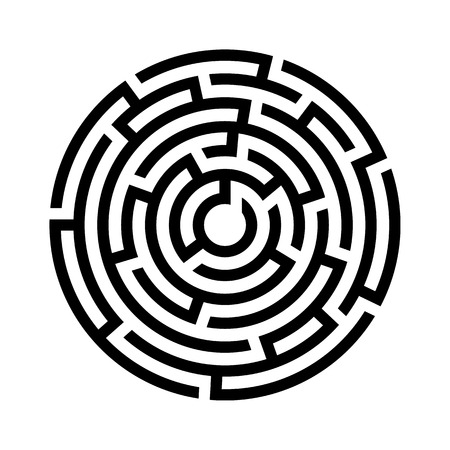 Circle maze icon. Vector illustration.