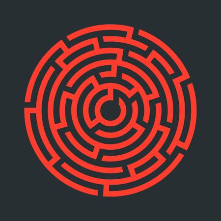 Circle maze icon. Vector illustration.