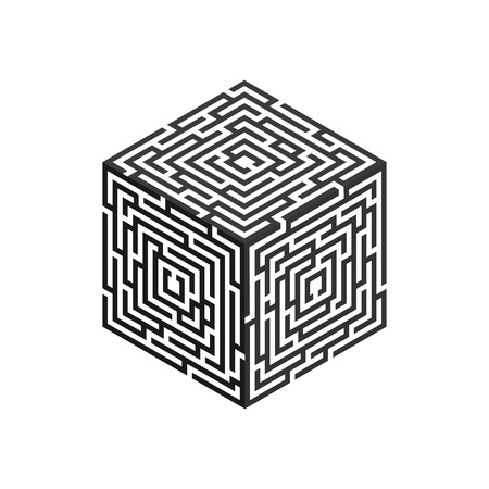 Isometric labyrinth cube, for logo, business concept, infographic template. Vector illustration.