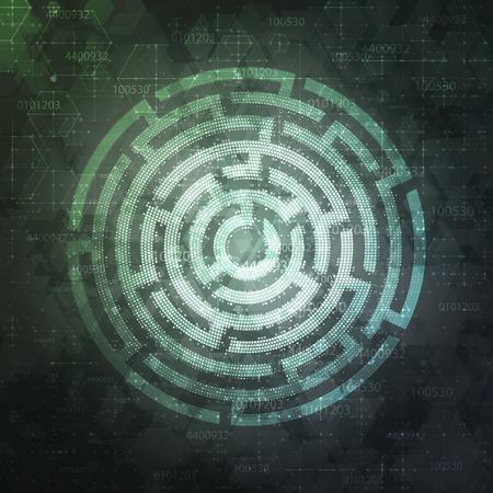 Technology Background Design with round maze. Vector illustration. Illusztráció
