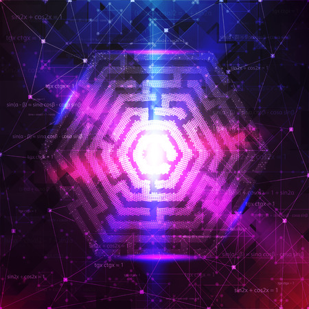 guess: Technology Background Design with Hexagon maze. Vector illustration. Illustration