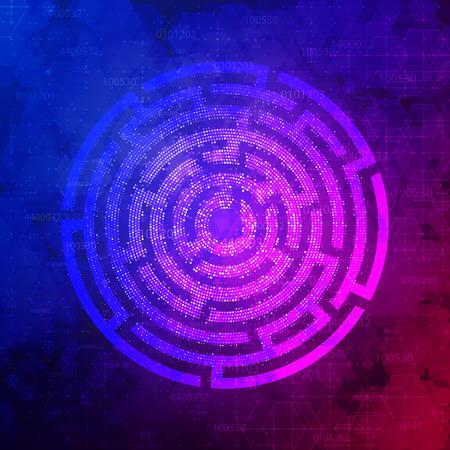 Technology Background Design with round maze. Vector illustration. Illustration