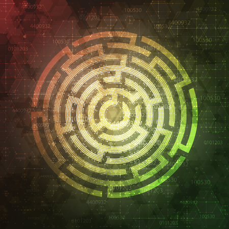 complex system: Technology Background Design with round maze. Vector illustration. Illustration