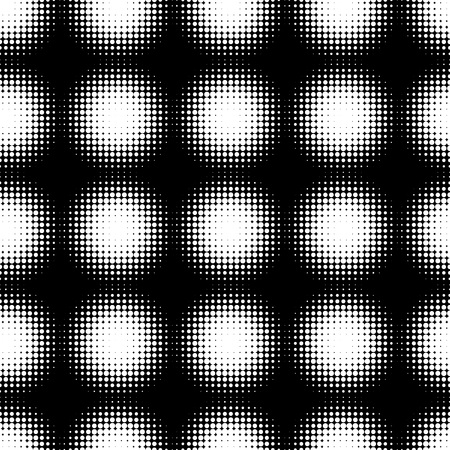 Abstract Seamless black and white halftone pattern. Mosaic of spheres from black dots. Vector Illustration.