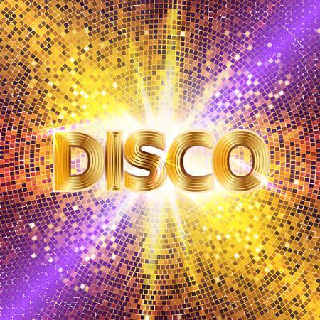 Retro sfondo del partito della discoteca con scintille e glitter, effetto di luce incandescente. Illustrazione vettoriale.