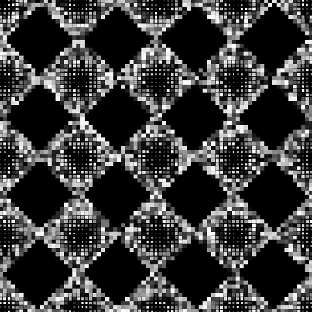 Black and white square pixel mosaic seamless pattern. Vector illustration.