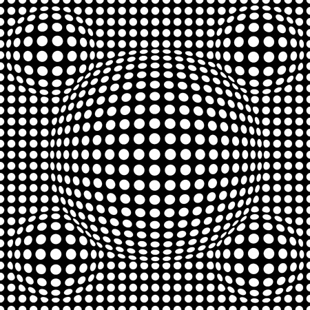 Black and white abstract dotted seamless pattern. Texture with spheres, billowy dots for your designs. Vector illustration.