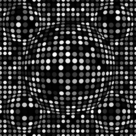 Modèle sans couture abstrait en pointillé noir et blanc. Texture avec des sphères, des points en relief pour vos conceptions. Illustration vectorielle