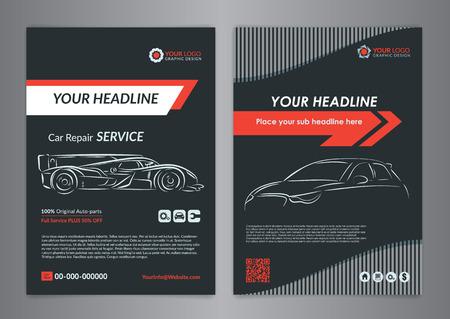 Automotive repair business layout templates, automobile magazine cover, auto repair shop brochure, mockup flyer.