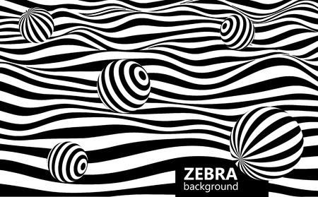 Abstract striped wavy background. Black and white curved lines with spheres.