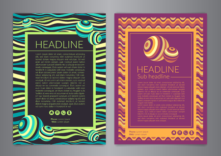 Multipurpose Flyer Layout with colored curved lines with spheres. Modern Backgrounds.