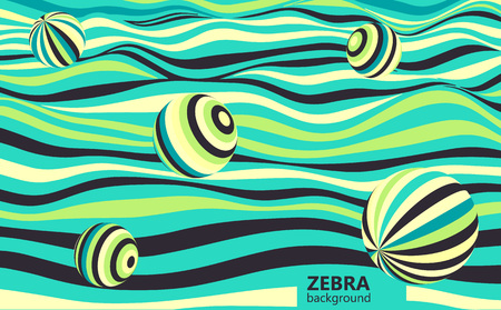 Abstract striped wavy background. Color curved lines with spheres.