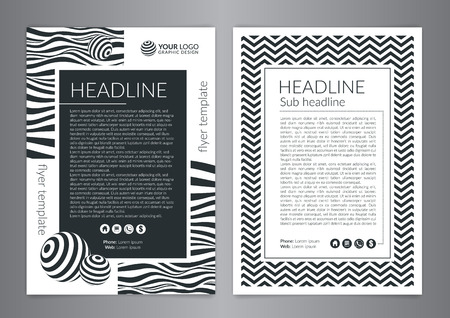 Multipurpose Flyer Layout with Black and white curved lines with spheres. Modern Backgrounds.