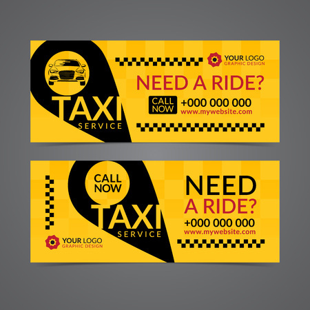 Set of taxi service business banner, poster, flyer. Taxi pickup service layout templates. Vector illustration.
