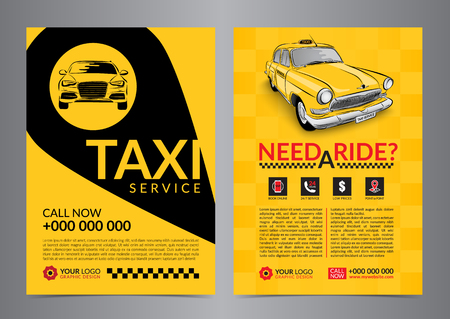 Taxi pickup service design layout templates. A4 call taxi concept flyer. Vector illustration. Illusztráció