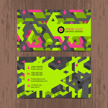 Abstract creative Business card design layout template with geometric pattern. Modern Backgrounds. Vector illustration.