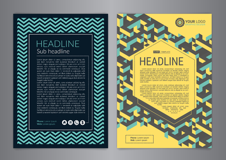 Set of Business Flyer Layout with curved lines and Isometric background cubes.