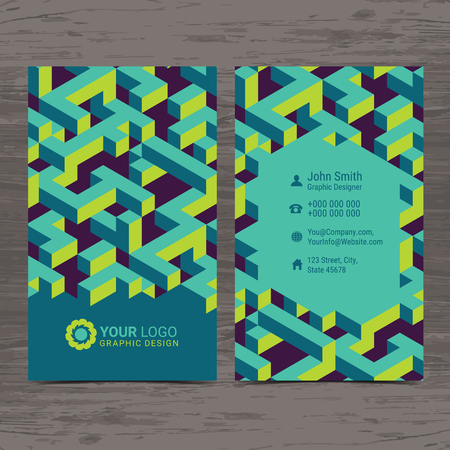 Double sided creative Business card design layout template with Isometric cubes pattern.