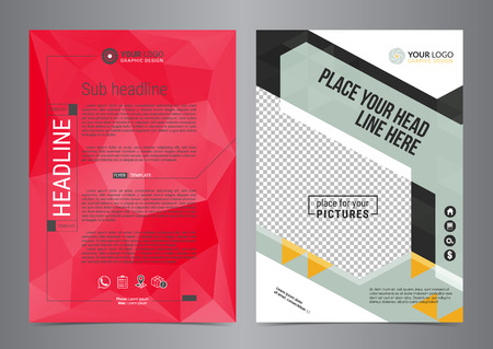 Set of Business flyer design layout templates vector in A4 size. Leaflet cover presentation geometric shapes, abstract Modern Backgrounds.