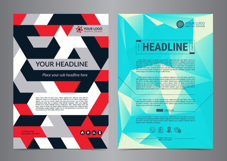 Multipurpose Flyer Layout with geometric background. Business brochure design layout template., Modern Backgrounds. Vector illustration.