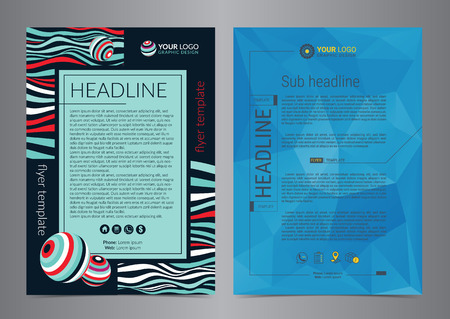 Set of Business Flyer Layout with colored curved lines and Geometric background triangles.