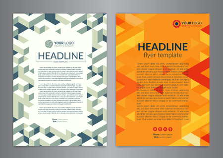 Business brochure design layout template with geometric pattern.