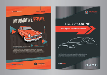 Auto repair services layout templates, automobile magazine cover, auto repair shop brochure. Illusztráció