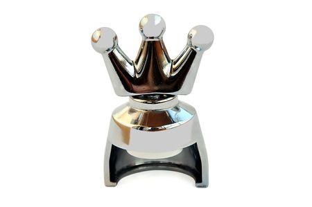 Champagne sughero aventi forma di una corona isolata su bianco con il percorso di clipping.