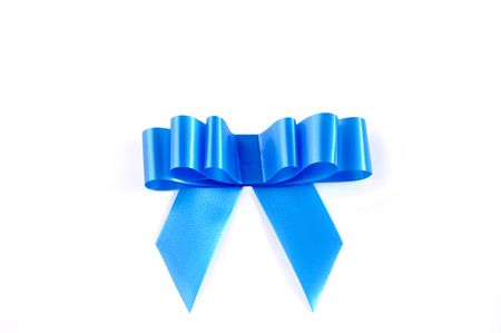Blue ribbon isolated over white with path. Can be used in placing on top of items - gifts, products, etc. photo