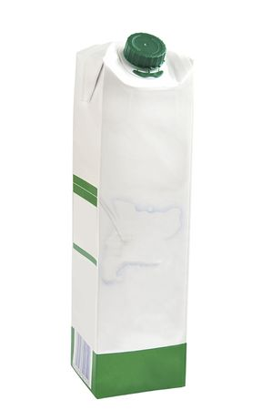 carton de leche: Cart�n de leche aislado sobre blanco  Foto de archivo
