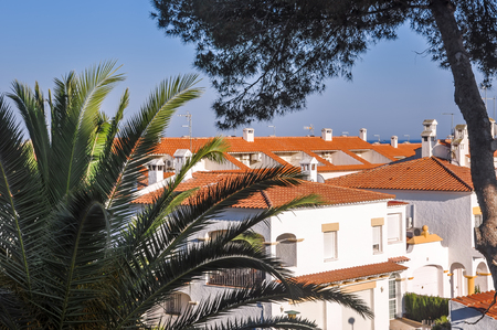View on chalets with housetops  from terracotta tiles with  palm and pine trees. Travel destination. Costa Dorada, Spain. Horizontal.