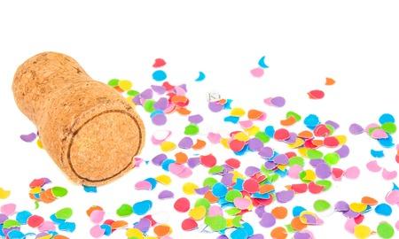 Champagne-kurk op confetti achtergrond. Feestdagen en evenementen concept.