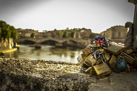 tiber: Rome, the Tiber and the Padlocks Stock Photo