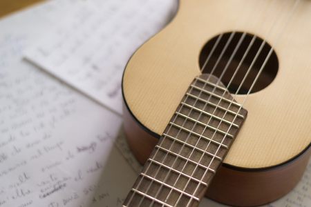 composers: Little brown guitar Stock Photo